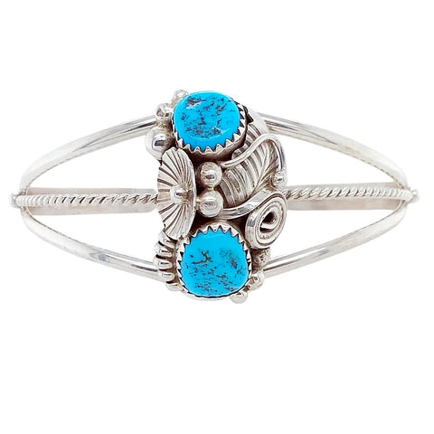 Image of Native American Bracelet - Navajo Two Stone Sleeping Beauty Turquoise Flower Sterling Silver Cuff Bracelet - Max Calladitto