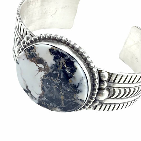 Image of Native American Bracelet - Navajo White Buffalo Circle Stone Stamped Heavy-Gauge Sterling Silver Cuff Bracelet - Rick Enriquez - Native American