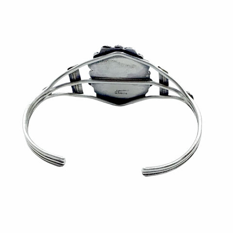Image of Native American Bracelet - Navajo White Buffalo Oval Sterling Silver Twist Wire Bracelet - Sheila Becenti - Native American
