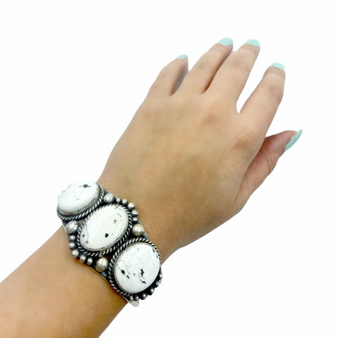 Native American Bracelet - Navajo White Buffalo Triple-Stone Sterling Silver Cuff Bracelet - Mary Ann Spencer - Native American
