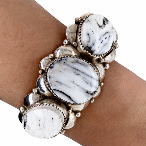Image of Native American Bracelet - Navajo White Buffalo Triple-Stone Sterling Silver Cuff Bracelet - Native American