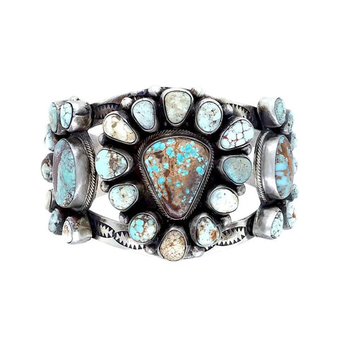 Native American Bracelet - Navajo Wide Dry Creek Spiderweb Turquoise Triple Cluster Sterling Silver Cuff Bracelet - Bobby Johnson - Native American