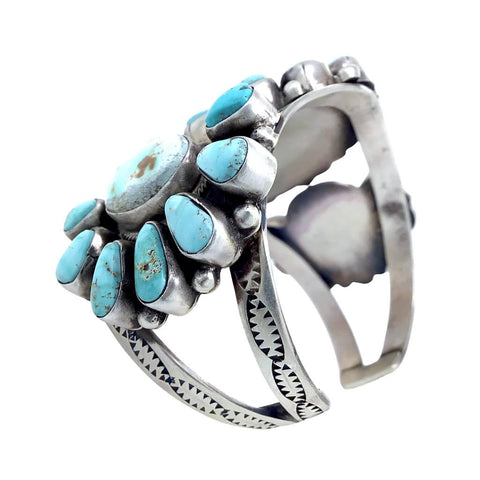 Native American Bracelet - Navajo Wide Dry Creek Turquoise Triple Cluster Sterling Silver Cuff Bracelet - Bobby Johnson - Native American
