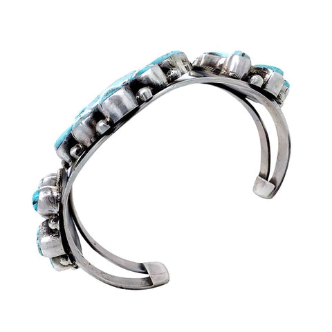 Image of Native American Bracelet - Navajo Wide Dry Creek Turquoise Triple Cluster Sterling Silver Cuff Bracelet - Bobby Johnson - Native American