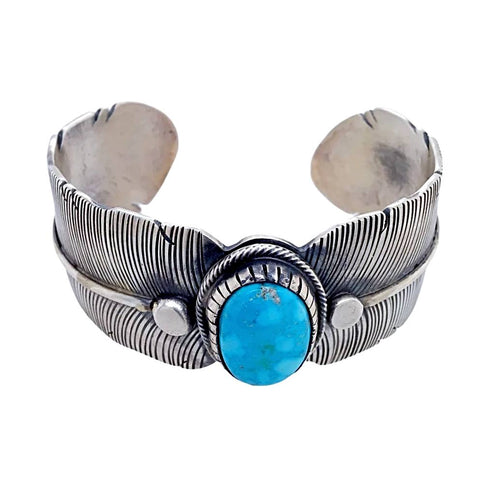 Native American Bracelet - Navajo Wide Feather Kingman Turquoise Sterling Silver Bracelet - Lorenzo Juan - Native American