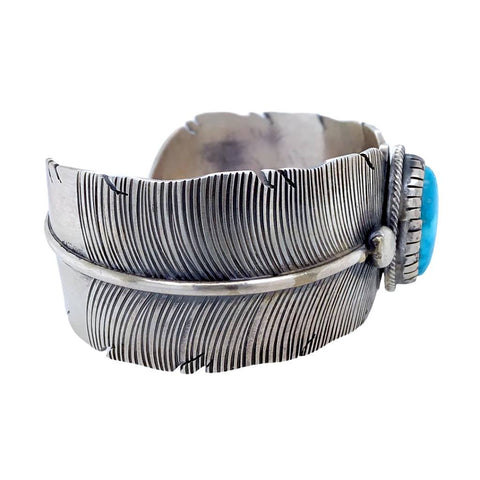 Image of Native American Bracelet - Navajo Wide Feather Kingman Turquoise Sterling Silver Bracelet - Lorenzo Juan - Native American