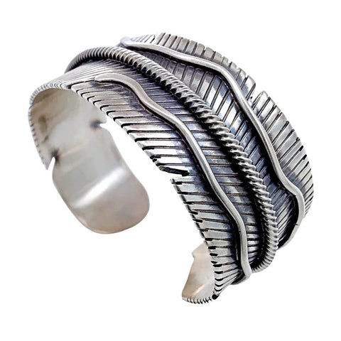 Image of Native American Bracelet - Navajo Wide Feather Sterling Silver Cuff Bracelet - Lorenzo Juan - Native American