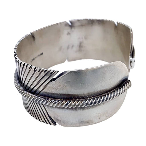 Native American Bracelet - Navajo Wide Feather Sterling Silver Cuff Bracelet - Lorenzo Juan - Native American