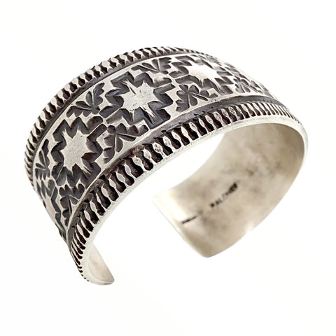 Native American Bracelet - Navajo Wide Hammered Sterling Silver Cuff Bracelet - Maloney - Native American