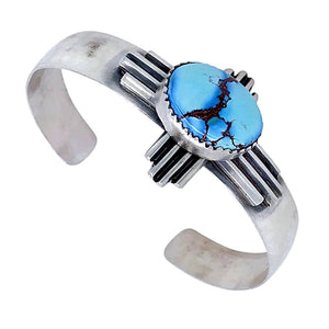 Native American Bracelet - Navajo Zia Golden Hills Turquoise Sterling Silver Cuff Bracelet - G. Spencer - Native American