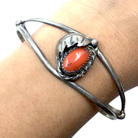 Native American Bracelet - Old Pawn Coral Feather Sterling Silver Cuff Bracelet - Native American