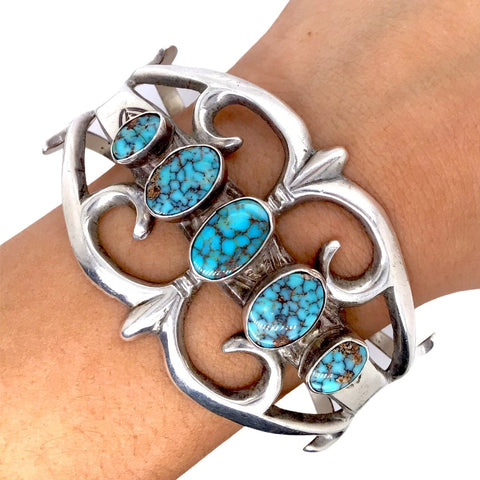 Native American Bracelet - Old Pawn Navajo Turquoise Sterling Silver Sandcast Cuff Bracelet - Native American