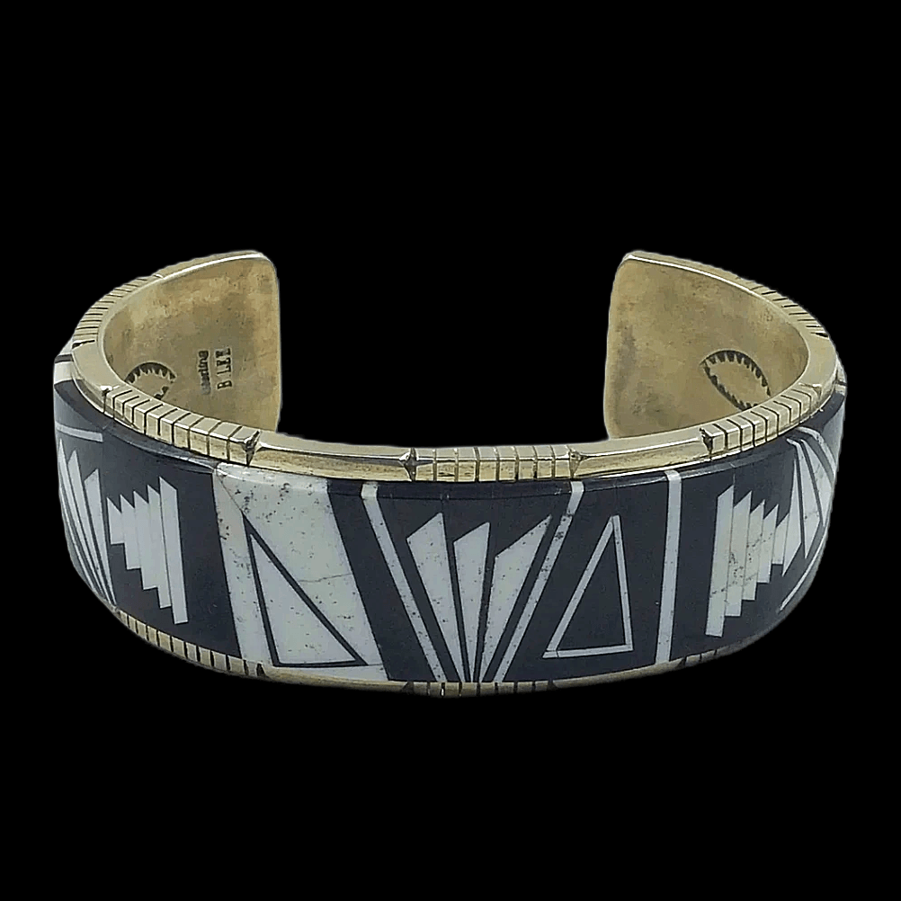 Native American Bracelet - Onyx And White Buffalo Navajo Inlay Bracelet