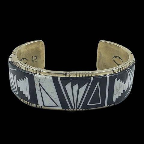 Image of Native American Bracelet - Onyx And White Buffalo Navajo Inlay Bracelet