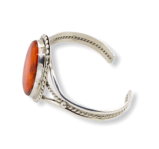 Native American Bracelet - Oval Orange Spiny Oyster Bracelet - Samson Edsitty Navajo