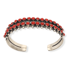 Load image into Gallery viewer, Native American Bracelet - Paul Livingston 2 Row Multi-Stone Coral Bracelet
