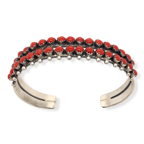 Native American Bracelet - Paul Livingston 2 Row Multi-Stone Coral Bracelet