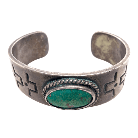 Native American Bracelet - Pawn Green Royston Oval Turquoise Bracelet
