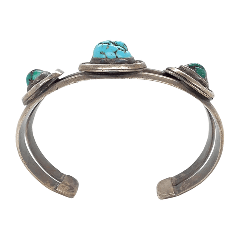 Native American Bracelet - Pawn Kingman Green And Sky Blue Turquoise Bracelet