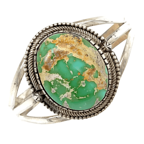 Image of Native American Bracelet - Pawn Royston Turquoise Moss Oval Bracelet - Ray Bennett