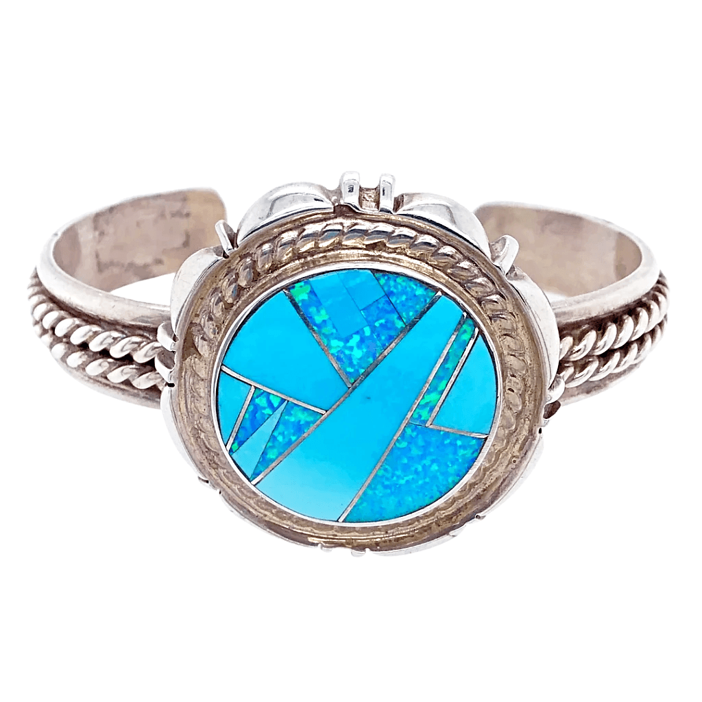Native American Bracelet - Pawn Sterling Silver And Created Opal And Turquoise Bracelet