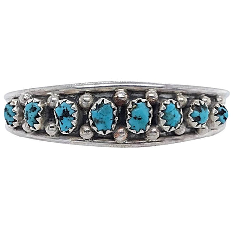 Image of Native American Bracelet - Small Navajo Sleeping Beauty Turquoise Row Sterling Silver Cuff Bracelet - Elton Cadman