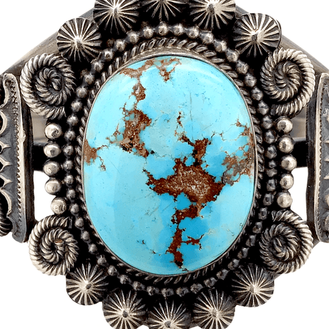 Image of Native American Bracelet - Stunning Navajo Golden Hill Turquoise Sterling Silver Bracelet - Mike Calladitto