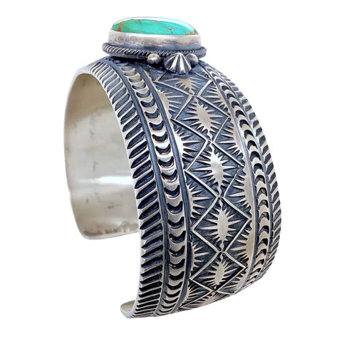 Native American Bracelet - Stunning Navajo Royston Turquoise Deep-Set Stamped Sterling Silver Cuff Bracelet - Aaron Toadlena