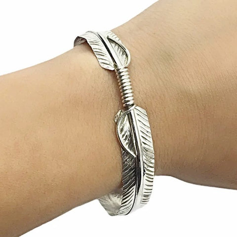 Native American Bracelet - Thin Navajo Feather Sterling Silver Cuff Bracelet - Native American