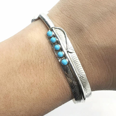 Native American Bracelet - Thin Navajo Turquoise Feather Sterling Silver Cuff Bracelet - Aaron Davis - Native American