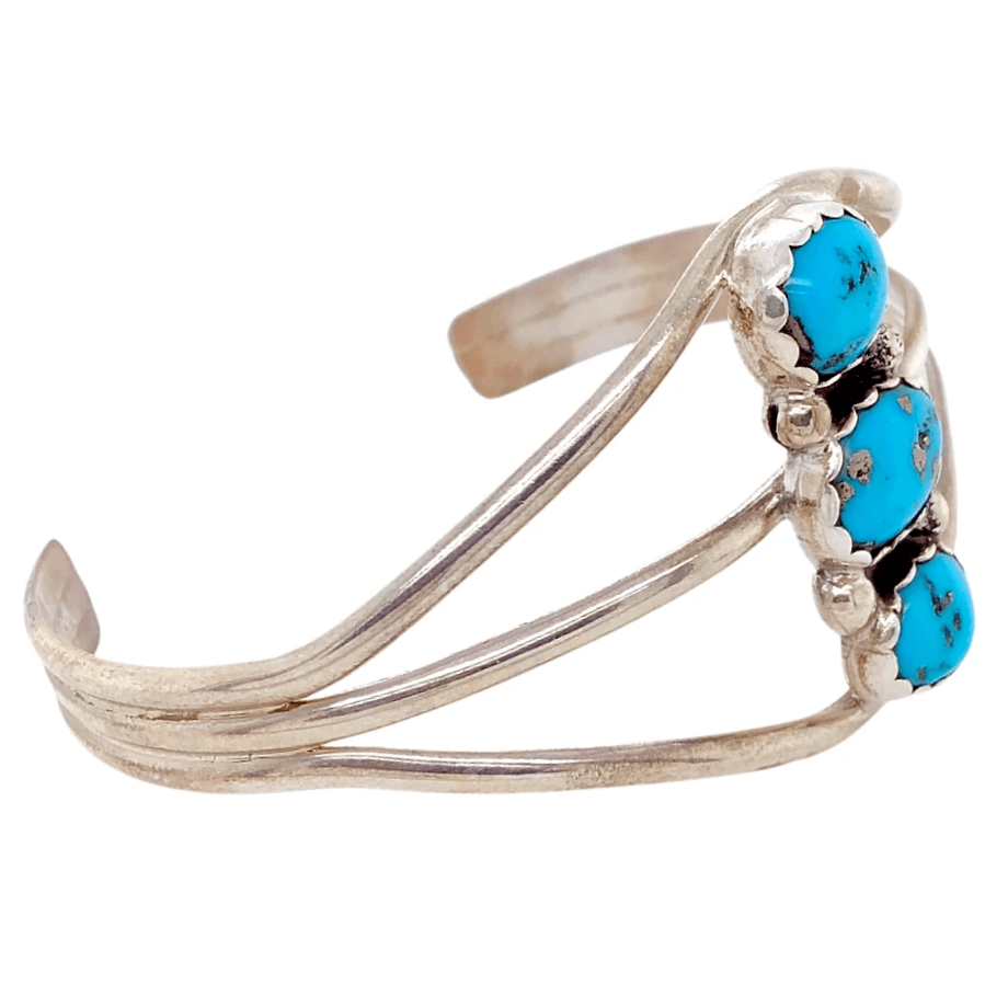 Native American Bracelet - Three Stone Navajo Pawn Kingman Turquoise Bracelet With Embellished Setting
