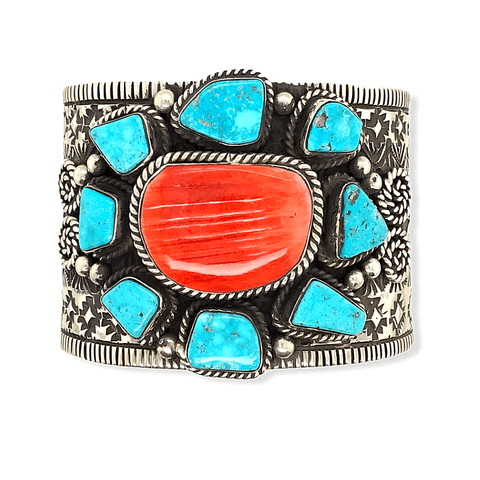 Image of Native American Bracelet - Turquoise And Spiny Oyster Stone Cluster Cuff Bracelet