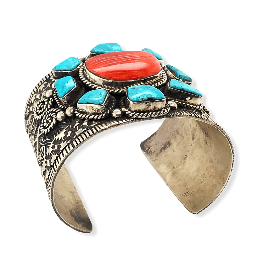 Native American Bracelet - Turquoise And Spiny Oyster Stone Cluster Cuff Bracelet