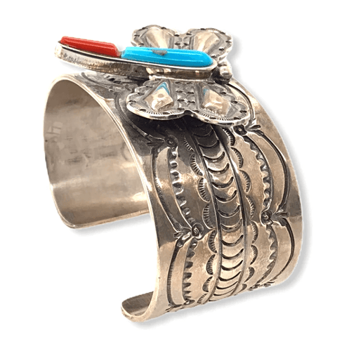 Image of Native American Bracelet - Turquoise & Coral Butterfly Cuff Bracelet Sterling Silver Bracelet