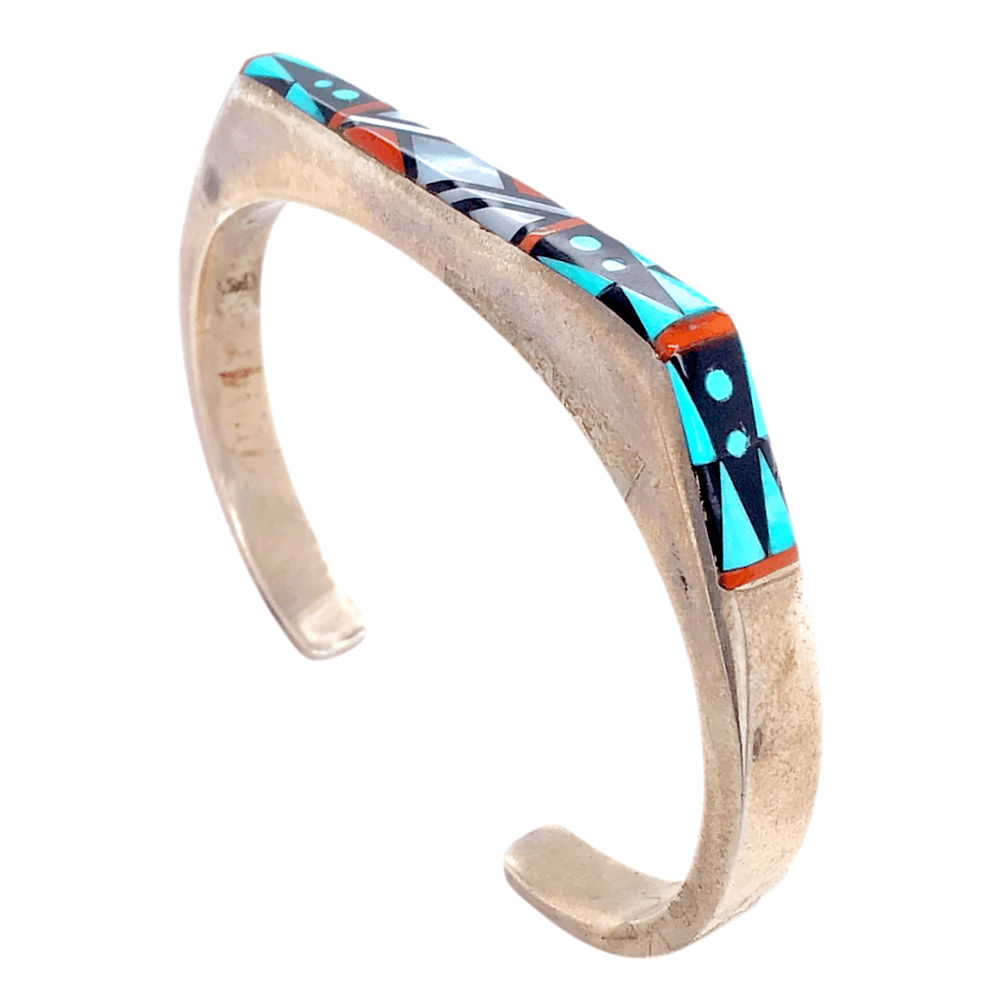 Native American Bracelet - Turquoise, Onyx, And Mother Of Pearl Zuni Inlay Pawn Bracelet