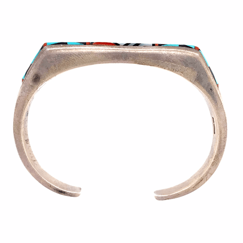 Image of Native American Bracelet - Turquoise, Onyx, And Mother Of Pearl Zuni Inlay Pawn Bracelet