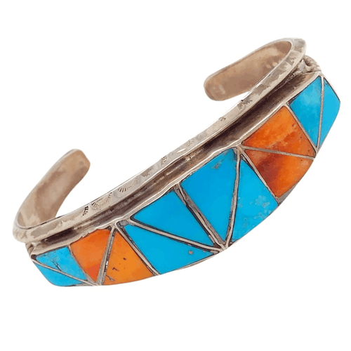 Native American Bracelet - Turquoise & Spiny Oyster Inlay Zuni Pawn Bracelet Helen And Lincoln Zunie