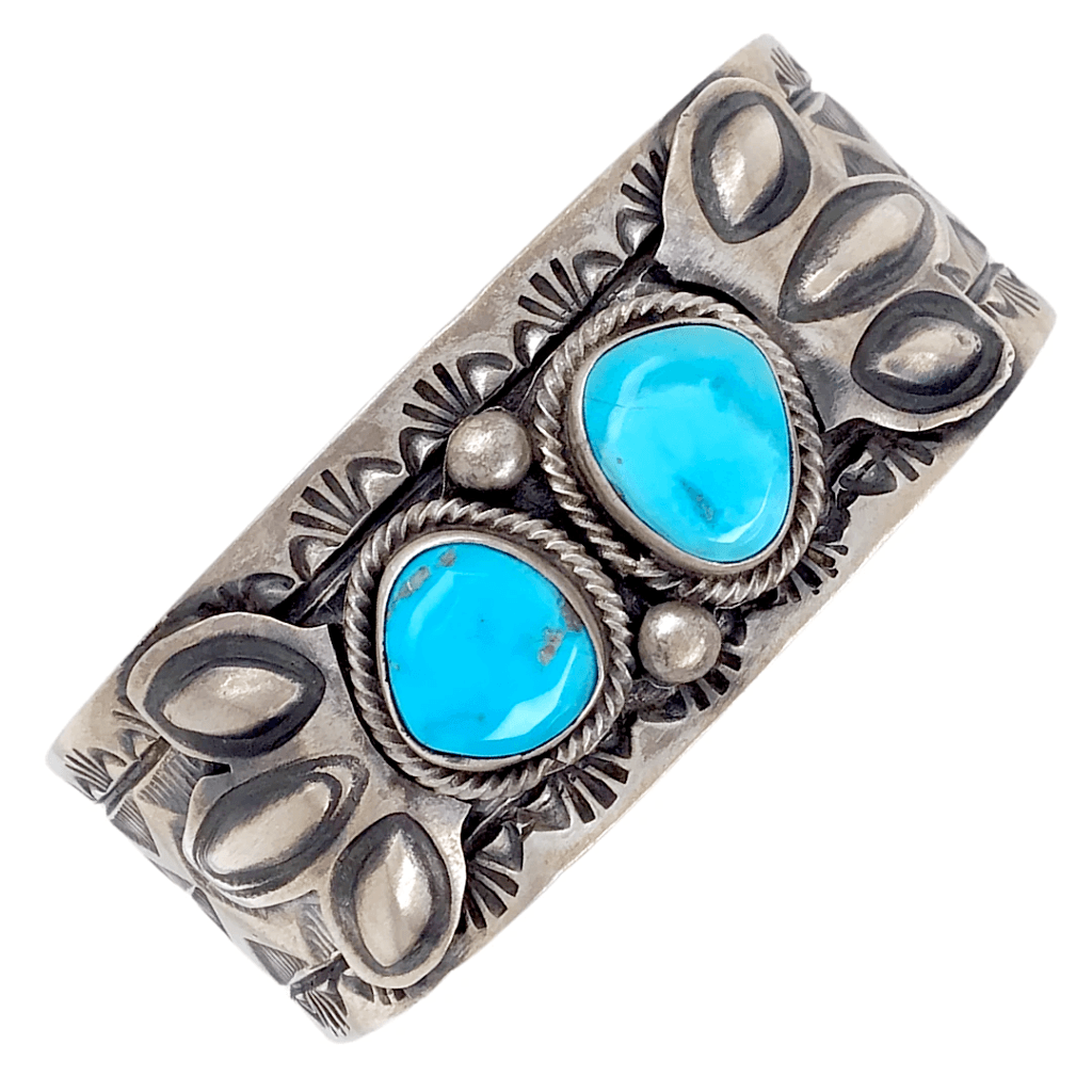 Native American Bracelet - Turquoise Two Stone Sleeping Beauty  Embellished Cuff Bracelet, Navajo