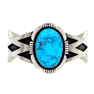 Native American Bracelet - Unique Navajo High Grade Kingman Turquoise Sterling Bracelet - C. Willie