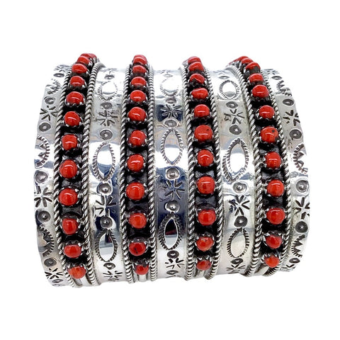 Image of Native American Bracelet - Zuni 4 Row Red Coral Cuff Bracelet - Pearl Ukestine - Native American