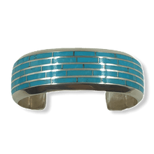 Load image into Gallery viewer, Zuni 5 Row Sleeping Beauty Inlay Bracelet by Larry Loretto