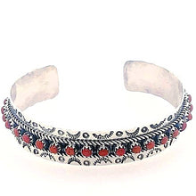 Load image into Gallery viewer, Native American Bracelet - Zuni Coral Dotted Row Cuff Bracelet