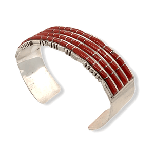 Native American Bracelet - Zuni Handcrafted 4 Row Coral Inlay Bracelet - Sheldon Lalio