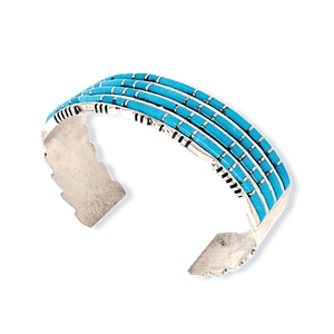 Native American Bracelet - Zuni Handcrafted 4 Row Turquoise Inlay Bracelet - Sheldon Lalio