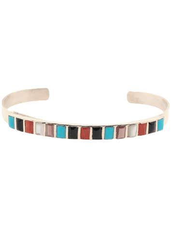 Native American Bracelet - Zuni Handmade  Multi-stone Channel Inlay Bracelet