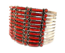 Load image into Gallery viewer, Native American Bracelet - Zuni Petit Point 10 Row Coral Bracelet By: J. Wayaco