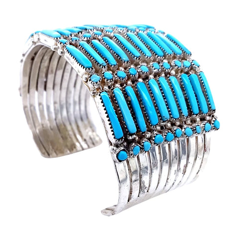 Image of Native American Bracelet - Zuni Petit Point 10 Row Sleeping Beauty Turquoise Bracelet - Wayaco - Native American