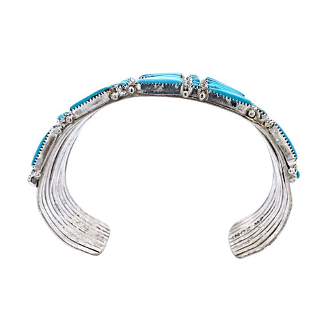 Native American Bracelet - Zuni Petit Point 10 Row Sleeping Beauty Turquoise Bracelet - Wayaco - Native American