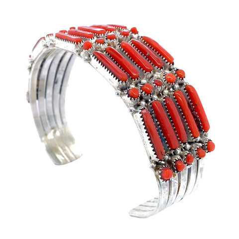 Native American Bracelet - Zuni Petit Point 5-Row Red Coral Bracelet - Wayaco - Native American