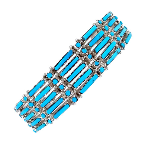 Image of Native American Bracelet - Zuni Petit Point 5-Row Sleeping Beauty Turquoise Bracelet - Wayaco - Native American